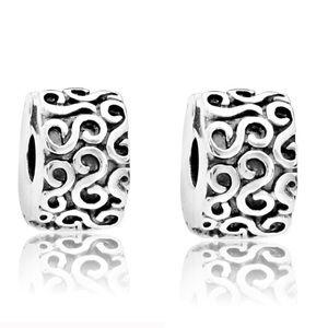 Set of 2 Pandora Serpentine Swirl Clip Charms